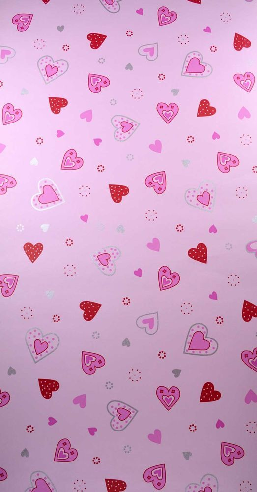 New Trends Pink Hearts Wallpaper Girls Bedroom Playroom