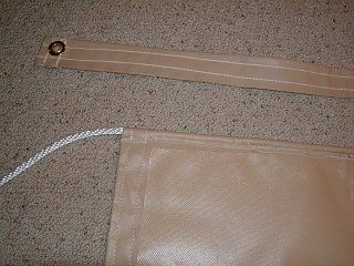 """1/4"""" rope sewed into tarp to attach to campers awning channel."""