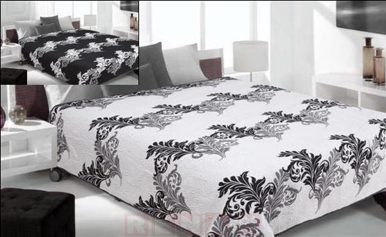 Narzuta dwustronna Gemma - biały+czarny 220x240