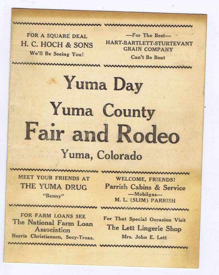 Yuma County Colorado fair rodeo program local ads 1947?   eBay