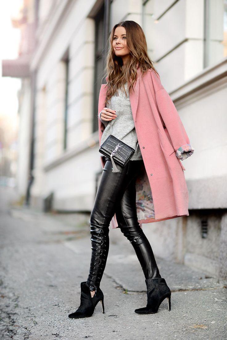 Saint Laurent tassel bag, H&M leather pants, Vivikes pink coat #StreetStyle