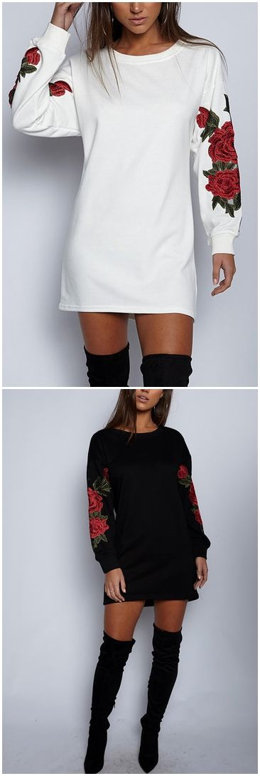 Black Rose Embroidered Long Sleeves Sweatshirt  US$21.95