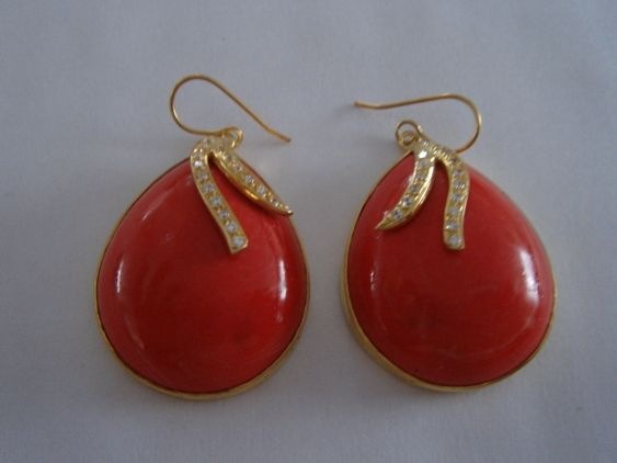 Red coral earrings set in 14K or 18K Gold or Gold plated Silver with Cubic Zirconia or swarovski crystals.