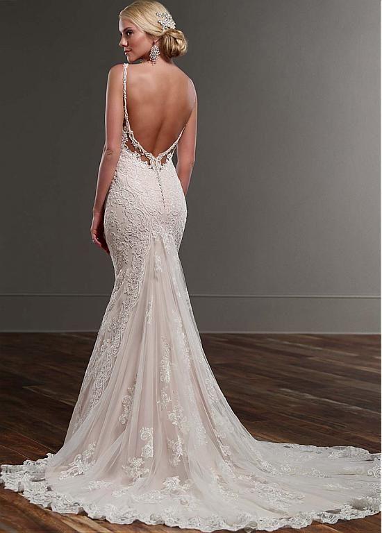 Elegant Tulle Spaghetti Straps Neckline Mermaid Wedding Dresses With Lace Appliques