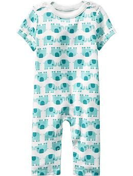 Patterned Boat-Neck One-Pieces for Baby
