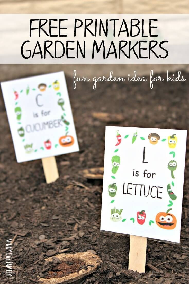 Go green vegetable bulletin board idea myclassroomideas com - Free Printable Garden Markers Your Kids Will Love