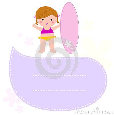 Little Surf girl with speech bubble for your text. Vector Illustration
