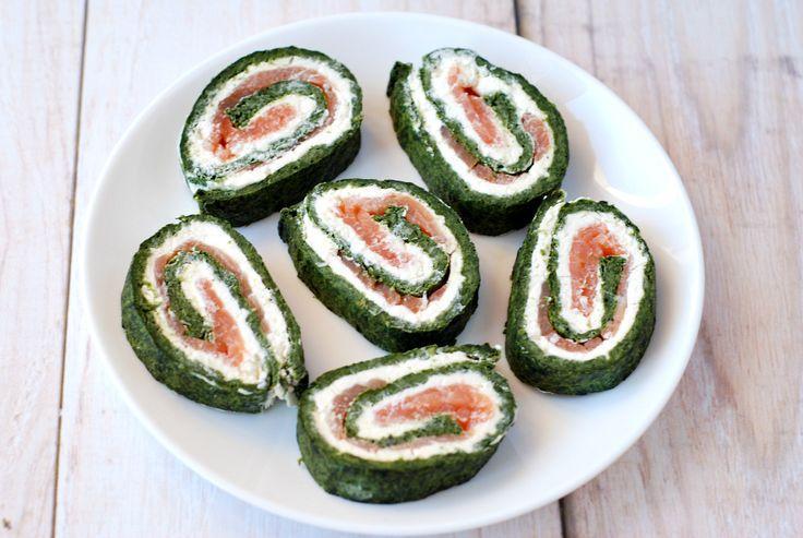 Rolada szpinakowa z łososiem i serkiem śmietankowym / Spinach roll with salmon and cream cheese