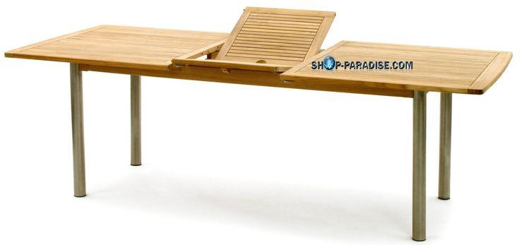 SHOP-PARADISE.COM:  Tisch Ausziehtisch aus Teak und Edelstahl Tisch Triod 924,36 €