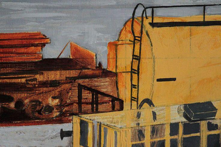 "detail of ""Yellow vagon on Milano Greco-Pirelli railway station"" Oil on canvas, 100X70cm #wetcatindustry #painting #antonioOrtolani"