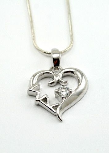 sigma kappa | Tumblr: Sigmakappa 3, Kappa Necklaces, Clear Crystals, Christmas Presents, Thankssigma Kappa, Sterling Silver Heart, Kappa Sterling, Art Sigma, Heart Pendants