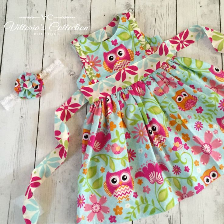 "Owl Dress. ""Sweet Tweet"" handmade dress- with botton closure accent, ruffle front panel, and tie back sash. summer dress. birthday dress. by VittoriasCollection on Etsy https://www.etsy.com/listing/263655347/owl-dress-sweet-tweet-handmade-dress"