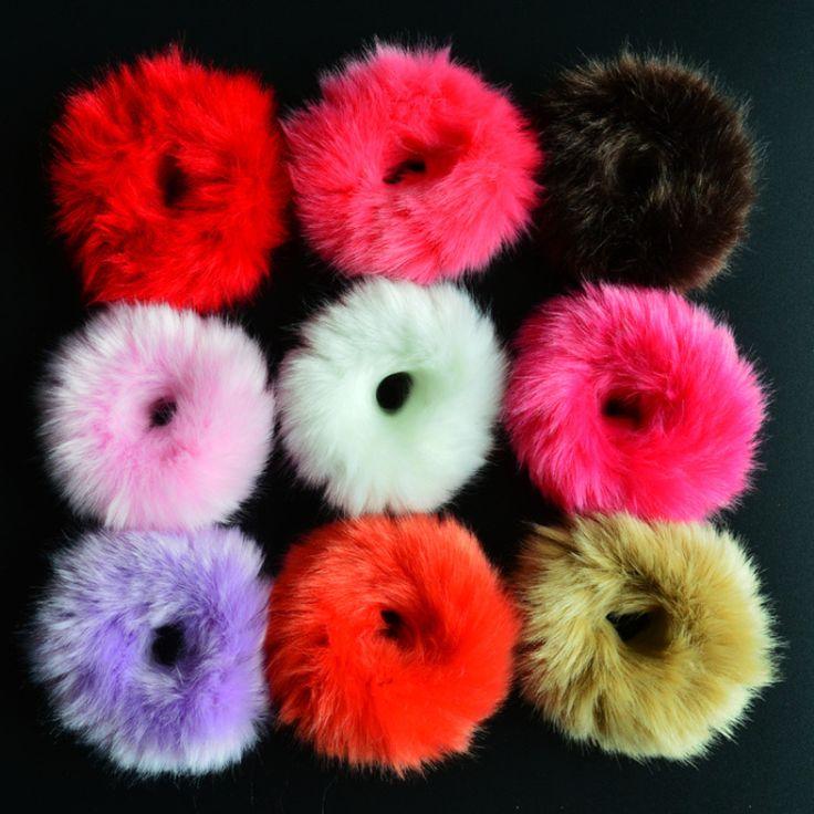 NEW 2016 Korean Cute Trendy Warm Soft Fake Rabbit Fur Woman Elastic Hair Rope Bands Girls Hair Accessories Rubber Band Headwear