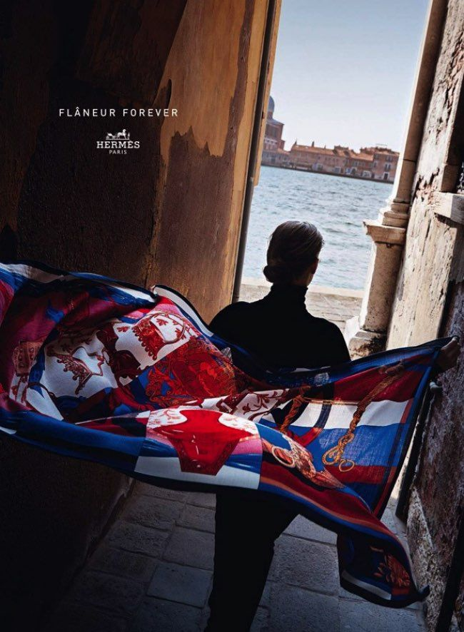 Flaneur Forever for Hermes FW 2015 Ad Campaign Lensed by Harry Gruyaert. l Love the Scarf, the View l #fashion #womenswear #hermes #italy