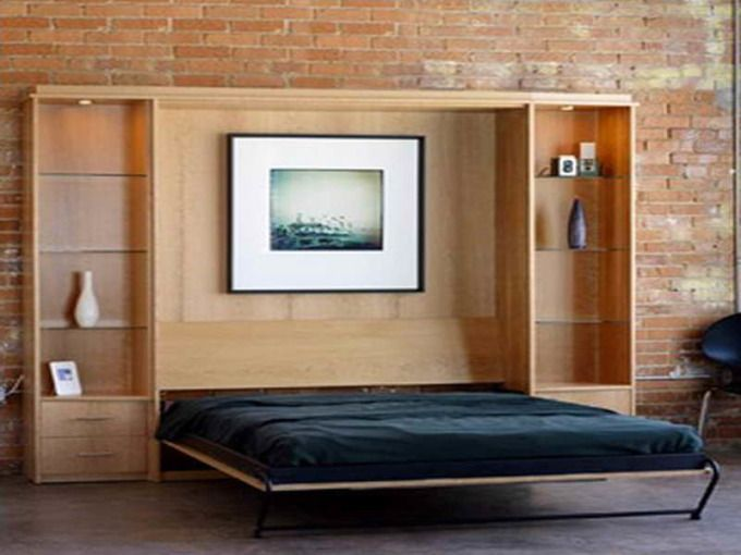Modern Bedroom Decoration With Stylish Murphy Bed On Black Metal Legs  Framing Walnut Boarding Design Centerpieces