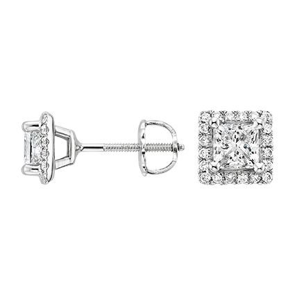 18K White Gold Luxe Princess Halo Stud Earrings (1 ct. tw.) Canadian diamond conflict free