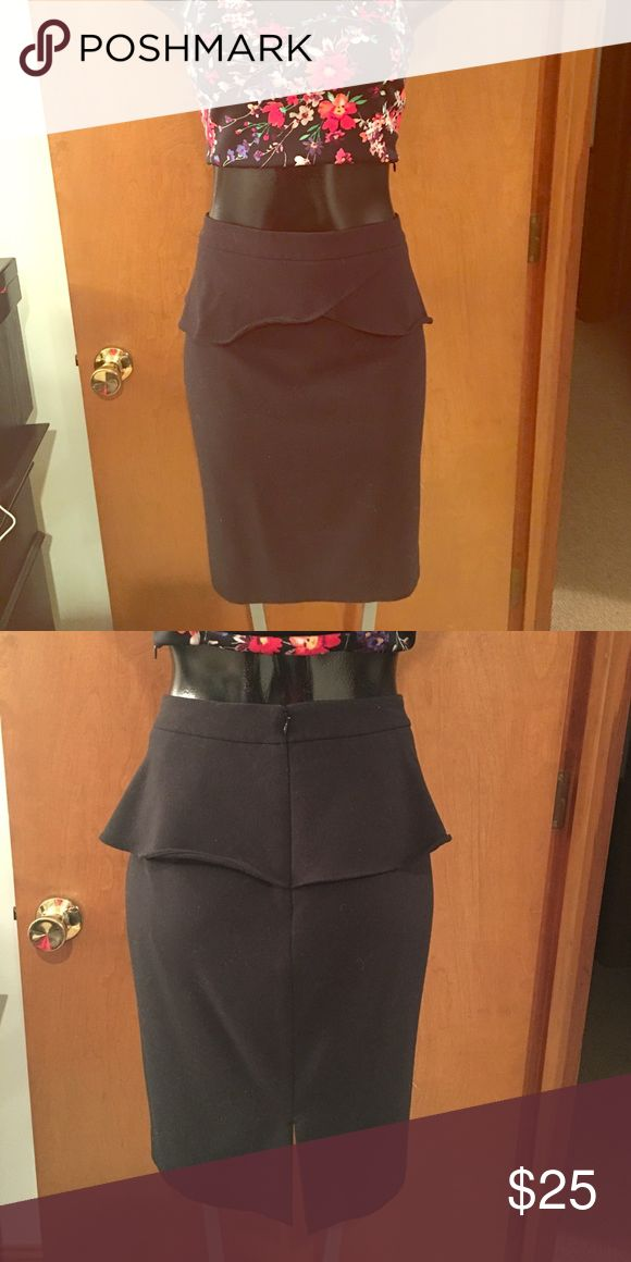Black Peplum Skirt Love the peplum on this skirt! Slit in back. Express Skirts Pencil