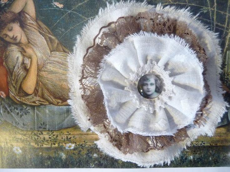 Nostalgie Blume Shabby Vintage Mädchen Cabochon Spitze Deko für Weihnachten