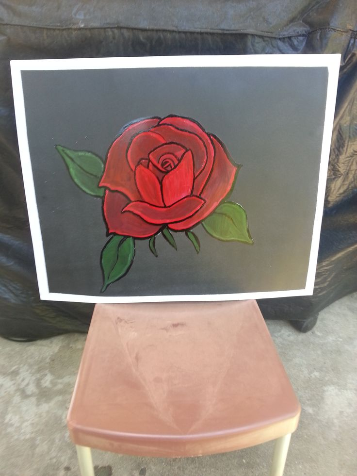 spraypainted red rose