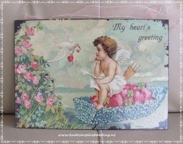 Brocant schilderij metaal engeltje.