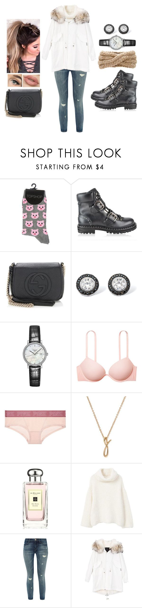 """""""Bundle Up!"""" by teodoramaria98 ❤ liked on Polyvore featuring Jimmy Choo, Gucci, Palm Beach Jewelry, Longines, Victoria's Secret, Anne Klein, Jo Malone, MANGO, J Brand and Eugenia Kim"""