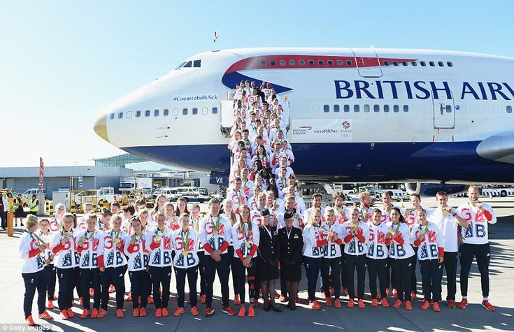 Team GB athletes pose with their astonishing haul of 67 medals - including 27 golds - having arrived back at London Heathrow Airport shortly before 9.50am today, 23rd August 2016, after finishing second in the Rio 2016 medal table!