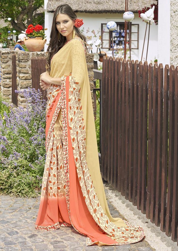 Orange and Butter Yellow Faux Georgette Traditional Printed Saree. Shop Now: https://goo.gl/LH5DuW