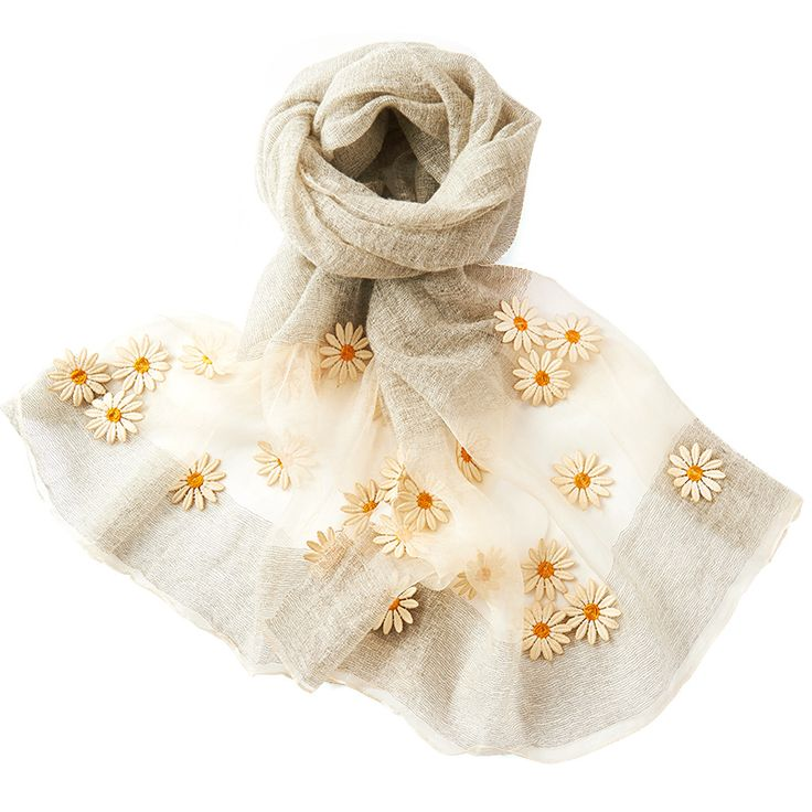 REALBY Women Silk Wool Scarf Luxury Brand Fashion Embroidery Foulard Femme Bandana Print Scarf Women Scarves Sjaal Hijab W6029 AidilAdha <3 AliExpress Affiliate's Pin.  Click the VISIT button to enter the AliExpress website