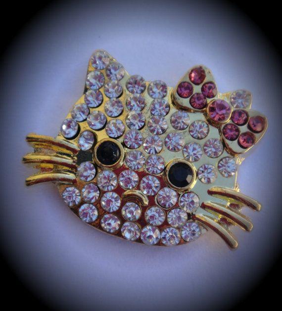 Gold Plated Hello Kitty Crystal Rhinestone by JewelryMakingSupply