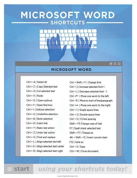 "Microsoft Word Keyboard Shortcut Printable Poster 8.5""x11"" 