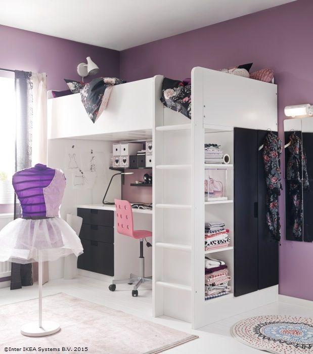 Pătuţul supraetajat STUVA are încorporat şi un birou şi dulăpior. Aşa, celor mici le rămâne mai mult loc pentru joacă în cameră. www.IKEA.ro/pat_STUVA