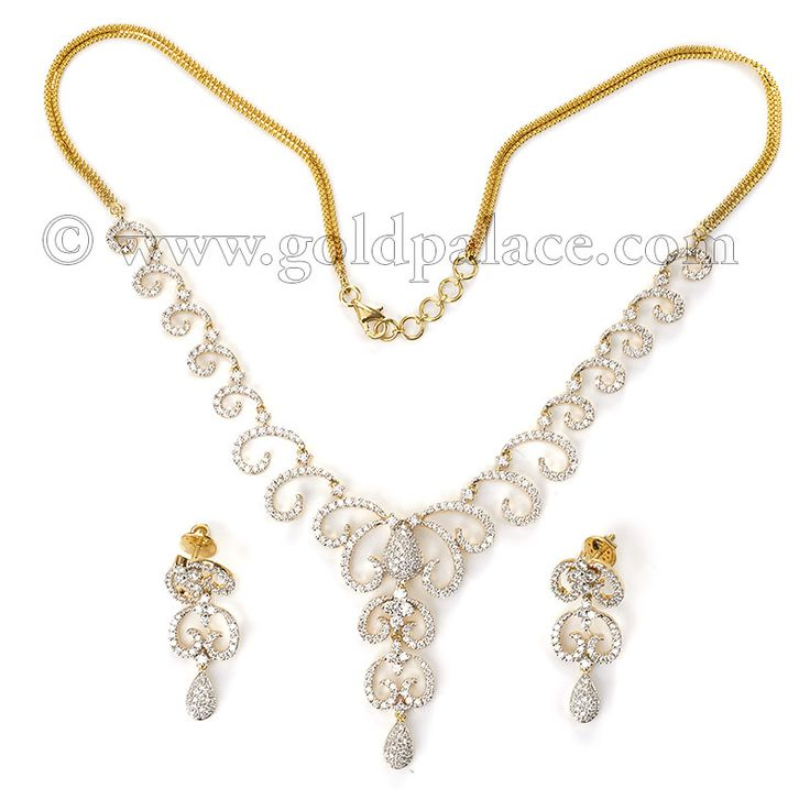 Diamond Necklace And Earring Set 18Kt Yellow Gold