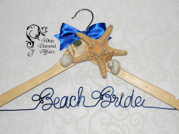 Starfish Sea Shells Personalized Beach Themed Wedding Bridal Hanger, Destination Wedding Dress Hanger, Bridal Gift - Wire Name Hanger on Etsy, $34.95
