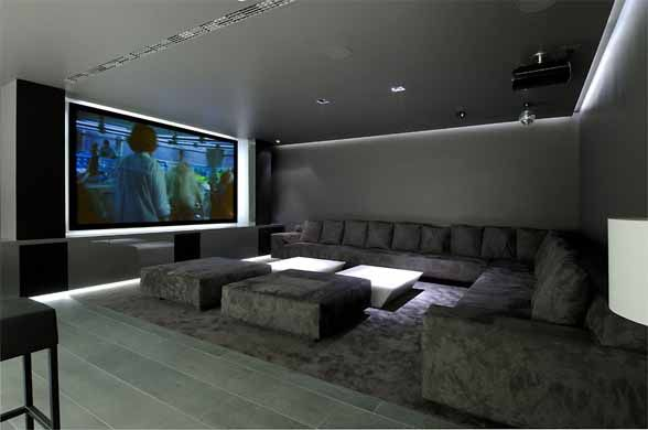 Home Cinema Interior Concrete House II by A cero Architects ...