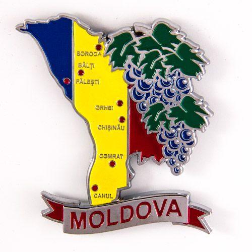 Metal Fridge Magnet: Moldova. LIMITED EDITION: Map of Moldova (Chrome Plating and Enamel)