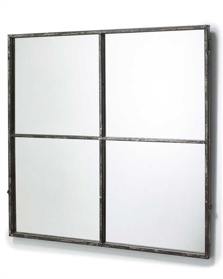 mirrordeco.com — Window Frame Mirror - Distressed Black Frame H:80cm