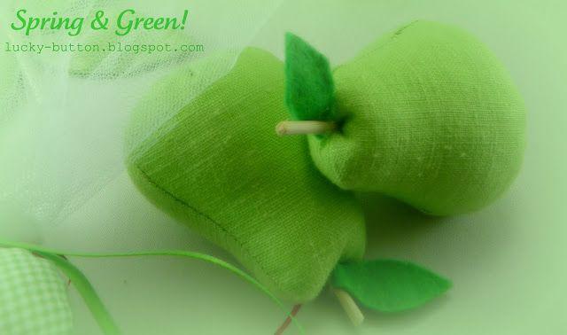 Το τυχερό κουμπί:  Υφασμάτινα φρούτα και λαχανικά για διακόσμηση, στολισμο ή μπομπονιέρα.