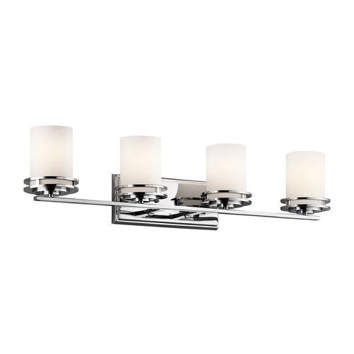 Kichler Modern Bathroom Light with White Glass in Chrome Finish   5079CH   Destination Lighting
