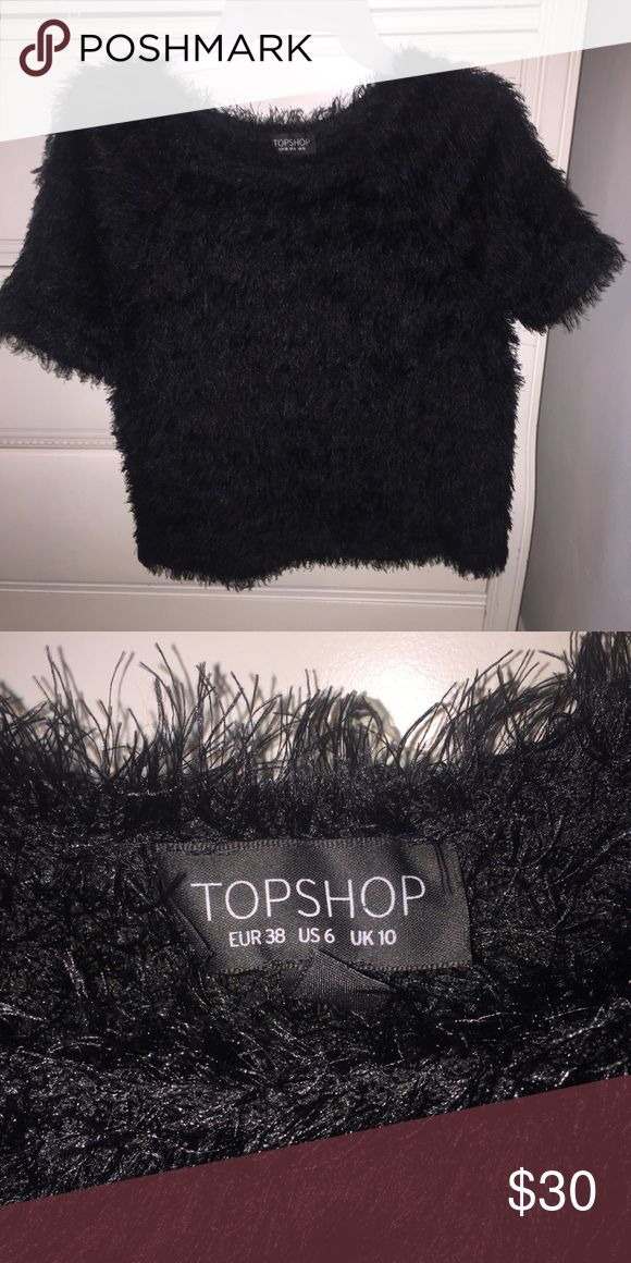 Black furry Topshop top Super cute black furry topshop top. Only used once and it can easily be dressed up or worn casually Topshop Tops Blouses