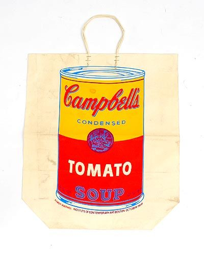 Paper shopping bag with silk screen image of Campbell's tomato soup can design Andy Warhol 1928 - 1987 published by The Institute of Contemporary Art Boston / USA 1966