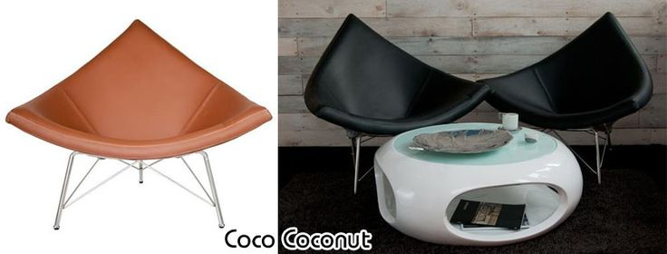 Coco bőrfotel:      George`a Nelson által tervezett kókusz fotel (1956).     Ugyan formája egyszerű, ugyanakkor elegáns és nagyon kényelmes.     Számos helyen megállja a helyét otthonában, vagy akár vállalkozásában is.     Kókusz héjjal bélelt bőr ülés, kiváló minőségű üvegszálas, lakkozott fehér színű, króm csővel megerősített alap.  Méret:      Magasság : 92 cm     Szélesség: 105 cm     Mélység : 80 cm