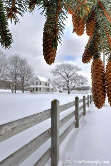 Farmhouse on a Snowy Winter day