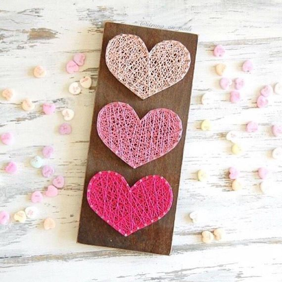 Valentine's Day themed string art hearts Ombré, valentine, Valentine's Day, string art, wood sign, sign, holiday decor, Valentine's Day decor, vday, home decor, handmade