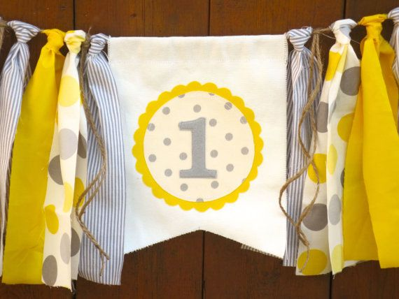 Yellow and Gray Birthday Banner Highchair High by SeacliffeCottage