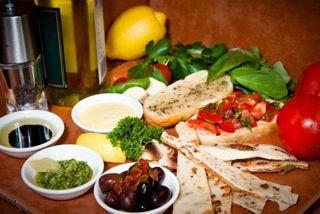 Olives and dips platter