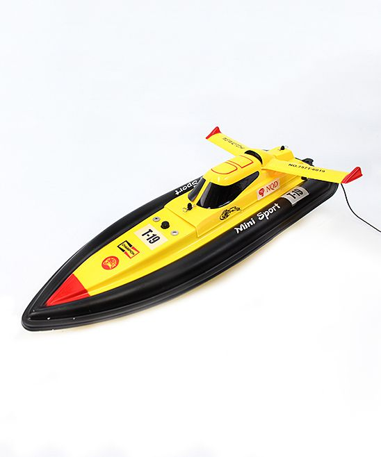 Yellow Remote Control Electric Mini Tracer Racing Boat