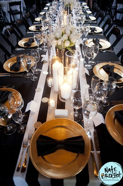 Bridal Bliss Wedding: Black, white and gold details with a handmade striped runners completed the look.