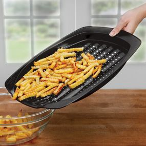 This amazing pan creates perfectly crispy baked fries, chicken nuggets and more with no oil required!  Wicked you can buy this at my Epicure Selections webpage!!! Ask me how!!! (Im happy dancing in my seat to see this)  Love my new pan