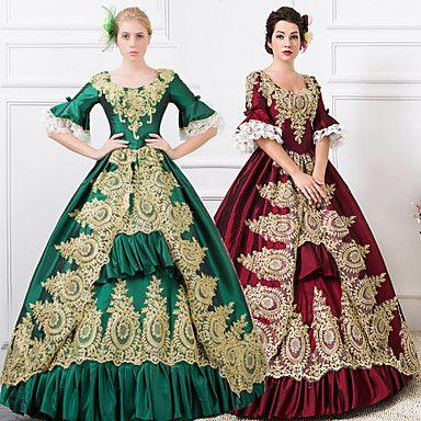 steampunk®wine rød / grønne lange ermer blonder-up prinsesse symposium viktoriansk konge vintage lang promenadekonsert kjoler 2016 – kr.2.304