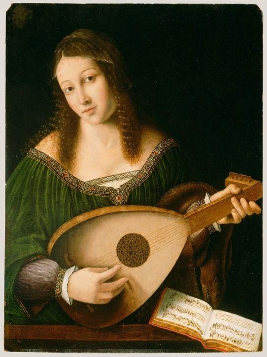 ca. 1530 - 'Woman Playing a Lute' by Bartolomeo Veneto (Italian, Venezia, 1502 - 1546). High Renaissance